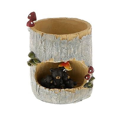 Tinksky Cute Black Bear Flower Sedum Succulent Pot Planter Bonsai Trough Box Plant Bed Home Garden Office Table Decor : Garden & Outdoor