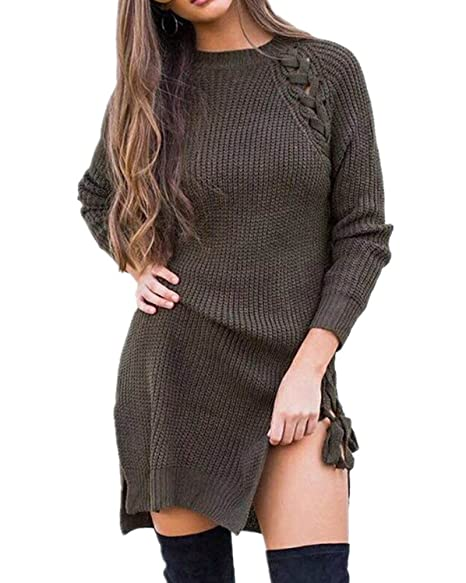 57e41a6b43 Sorrica Women s Long Sleeve Side Lace up Cable Knit Sweater Jumper (US SIZE  2-