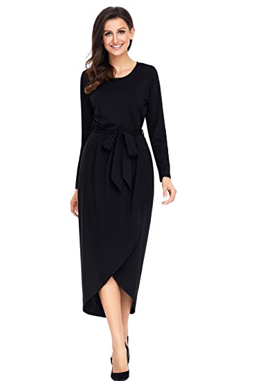 Womens Jersey Dress Tulip Long Sleeve Maxi Dress Faux Wrap Long