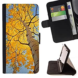 Momo Phone Case / Flip Funda de Cuero Case Cover - Hojas de otoño de abedul amarillo Sun - LG Nexus 5 D820 D821