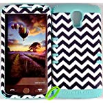 Cellphone Trendz Heavy Duty High Impact Hybrid Rocker Case Cover for LG Volt LS740 F90 – Mint Blue Silicone With Hard Black And White Chevron Design