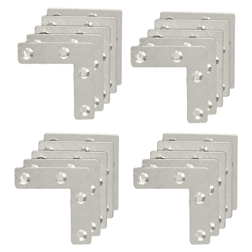 Autoly 20 Pcs 90 Degree Flat Corner Brace Stainless Steel L Shape Plates Repair Bracket 50x50mm 2''x2''