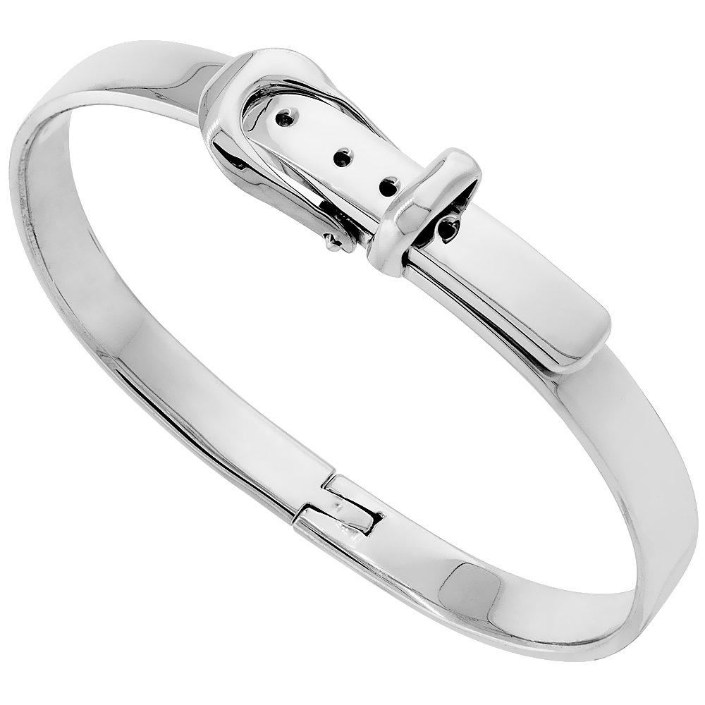 Sterling Silver Belt Buckle Bracelet, 1/4 inch wide