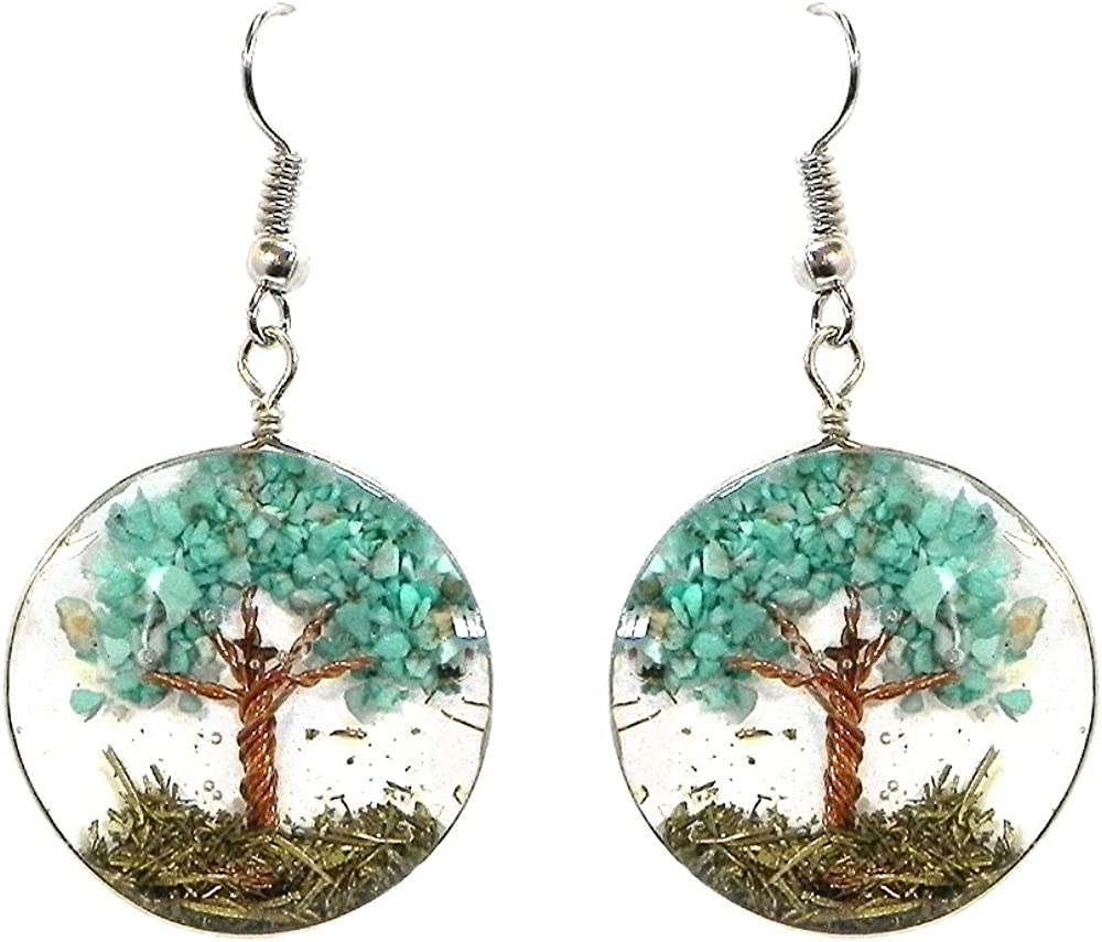 Tree of Life Crushed Chip Stone Round Acrylic Dangle Earrings