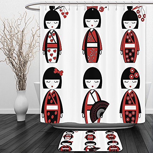 Stone Cold Fox Costume (Vipsung Shower Curtain And Ground MatGirly Unique Asian Geisha Dolls In Folkloric Costumes Outfits And Hair Sticks Kimono Art Image Black RedShower Curtain Set with Bath Mats Rugs)