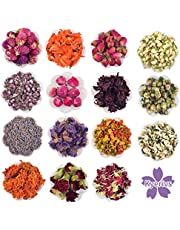 Natural Dried Flowers Herbs Kit for Bath, Soap Making Kit, Candle Making Supplies, Aromatherapy Making, Witchcraft Supplies, Mothers Day Gifts - 15Bags Include Dried Lavender, Witch Herbs