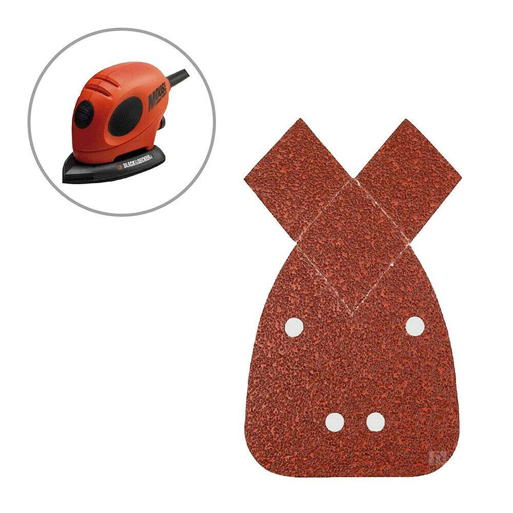 170 x 140 x 95mm 40 Grits Mouse Detail Sander Sandpaper Sanding Sheets with Extra 2 Tips for Replacement for Black and Decker Palm Sander 10PCS TOOLSTAR Mouse Sander Pads