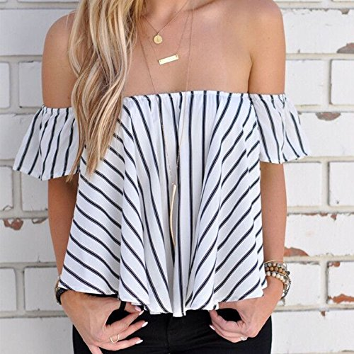 Hylong Summer Womens Ladies Casual Off The Shoulder Tops Tank Lesiure T-Shirt Blouse by Hylong (Image #5)
