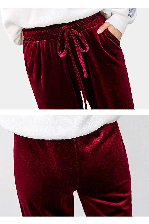 Pantalones De Terciopelo para Mujer De Invierno Casual con Cord/ón De Pierna Recta Ropa Diaria
