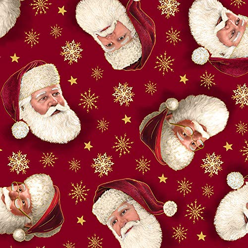 Christmas Fabric Christmas Eve Santa Faces in Red from Quilting Treasures 100% Premium Quality Cotton Fabric by The Yard