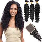 VRHOT 8A Brazilian Hair Bundles Deep Wave with Closure Virgin Hair Weave Human Hair Extensions Unprocessed Natural Color 3 Hair Bundles Free Part Lace Cosure (18'' 20'' 22'' with 16'' Closure)