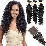 (US) VRHOT 8A Brazilian Hair Bundles Deep Wave with Closure Virgin Hair Weave Human Hair Extensions Unprocessed Natural Color 3 Hair Bundles Free Part Lace Cosure (14'' 16'' 18'' with 14'' Closure)