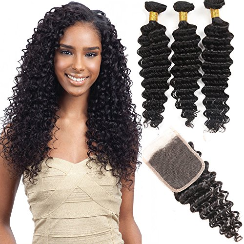 VRHOT 8A Brazilian Hair Bundles Deep Wave with Closure Virgin Hair Weave Human Hair Extensions Unprocessed Natural Color 3 Hair Bundles Free Part Lace Cosure (18'' 20'' 22'' with 16'' Closure) by shanglinghair