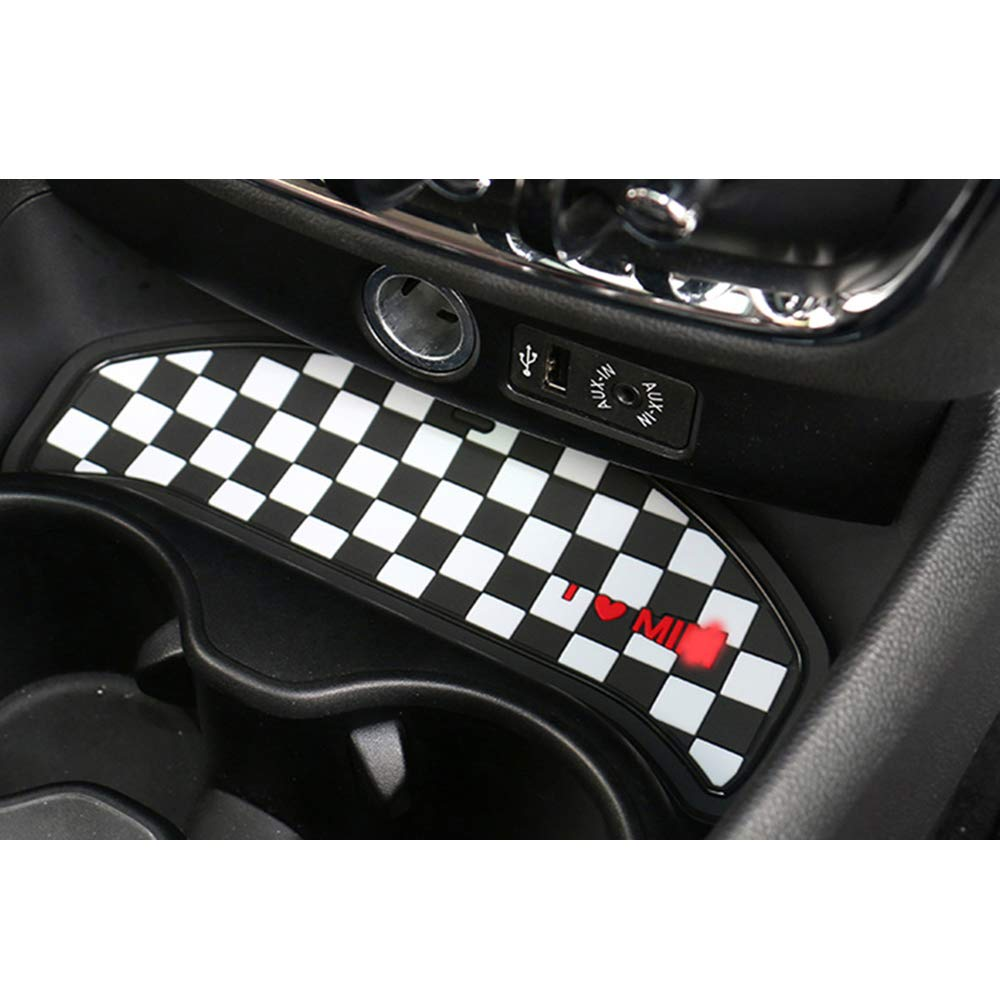 Grey Union Jack Car Cup Coffee Cushion Storage Coaster Central Control Groove Auto Non-slip Mat Pad For Mini Cooper One Clubman F54 Accessories