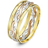 Theia 9 ct Yellow and White Gold 6 mm Celtic Highly Polished Wedding Ring