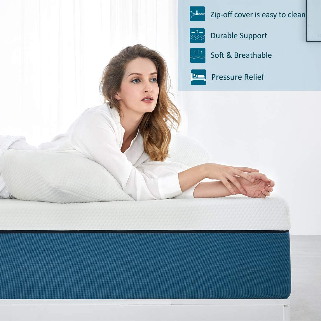 Memory Foam Mattress,Breathable Mattress Medium Firm with Soft Fabric Fire Resistant Barrier Skin-friendly Durable for Single Bed Single Mattress 90x190x18cm Molblly Single Mattress