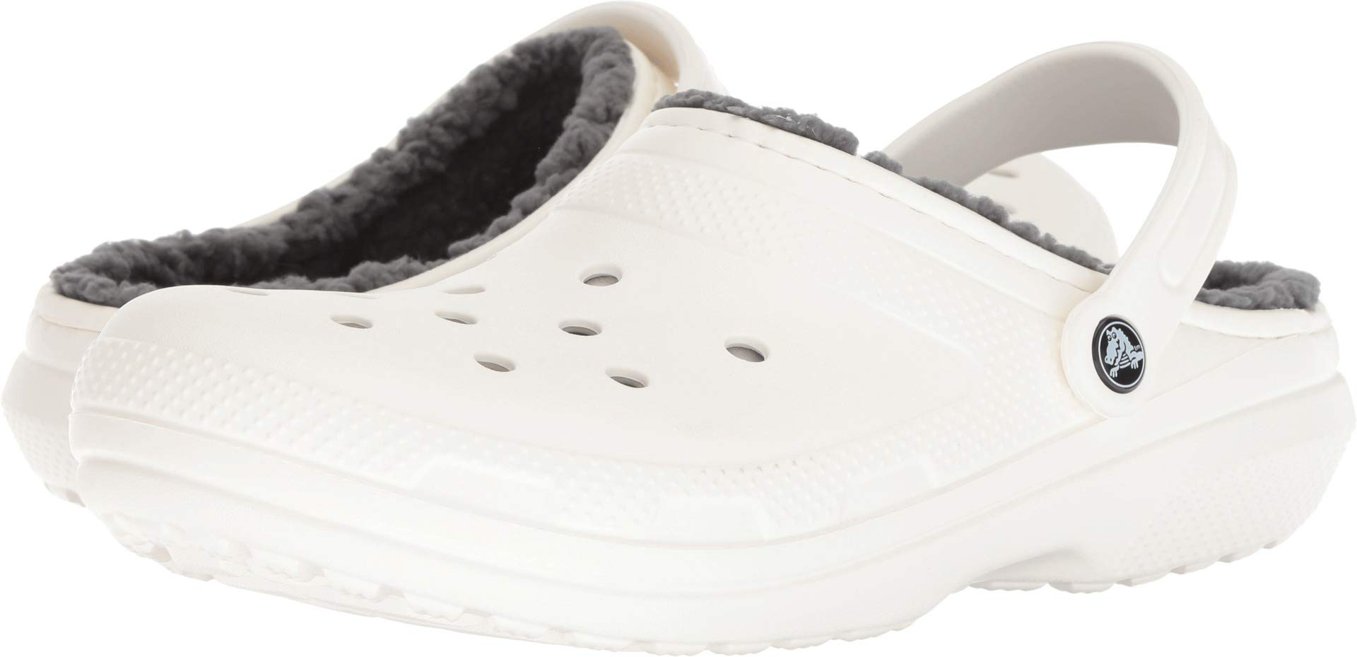 Crocs Unisex Classic Lined Clog White/Grey 9 Women / 7 Men M US Medium