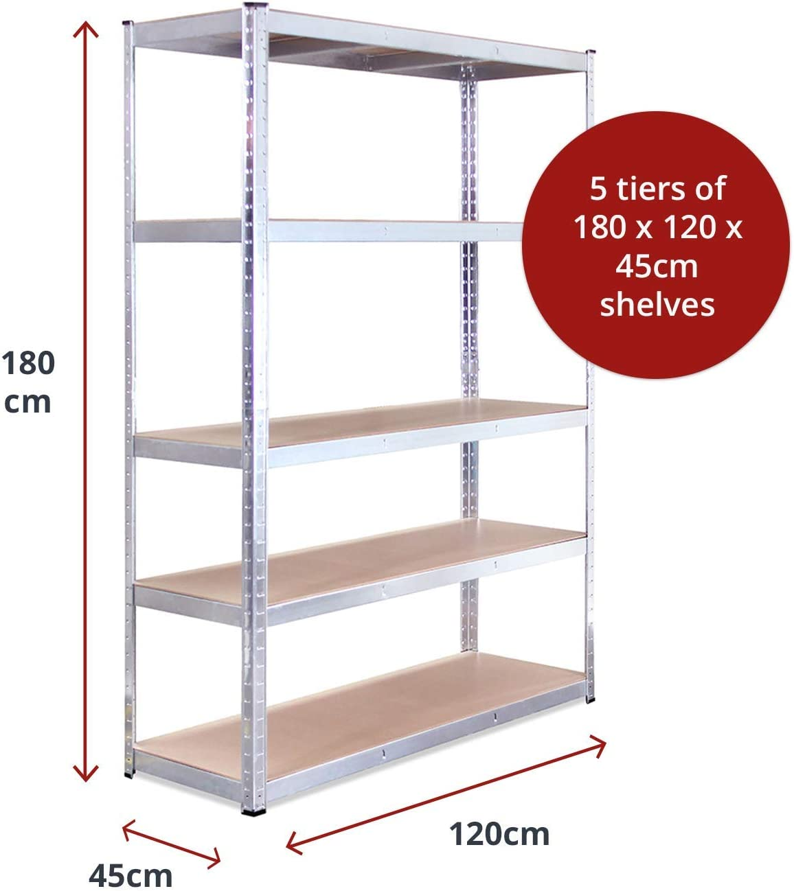 Galvanised Steel Shed - Workshop Office 5 Bay Garage Shelving Units 180 x 120 x 45cm 5 Tier 5 Year Warranty Heavy Duty Racking Shelves for Storage 175KG Per Shelf 875KG Capacity