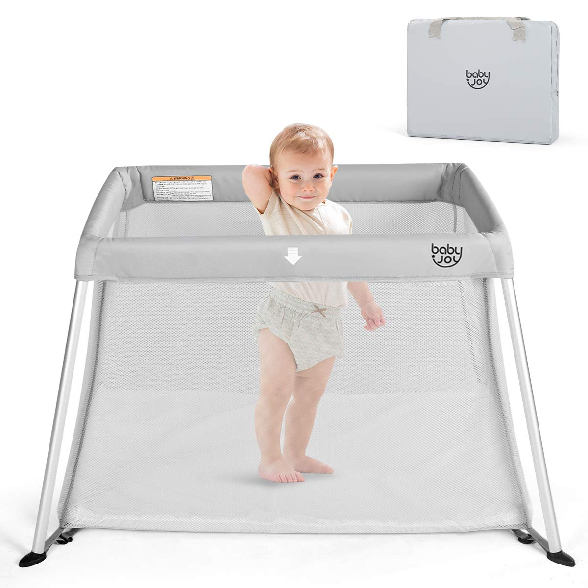 BABY JOY Baby Playpen, Ultra-Light Aluminum Portable Foldable Travel Crib with Comfy Mattress Oxford Carry Bag, Gray