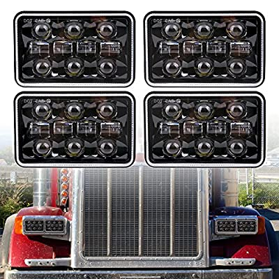 bicyaco 4pcs Dot approved 4x6 inch 60W Rectangular LED Headlights Hi/Lo Sealed Beam Replacement H4651 H4656 Hid Bulb Headlamps KW Kenworth T600 W900 T800 Truck Peterbilt 379 Chevy S10-Black