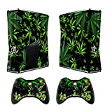 Cheap Skin for Xbox 360 Slim Sticker Decals for X360 Custom Cover Skins for Xbox360 Slim Modded Console Game Accessories Set Decal Stickers with 2 Wireless Remote Controllers – Weeds Black