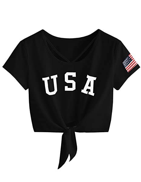 3392d102341 GAMISOTE Womens Summer Crop Top Letter Print Casual Loose Short Sleeve T  Shirt at Amazon Women's Clothing store: