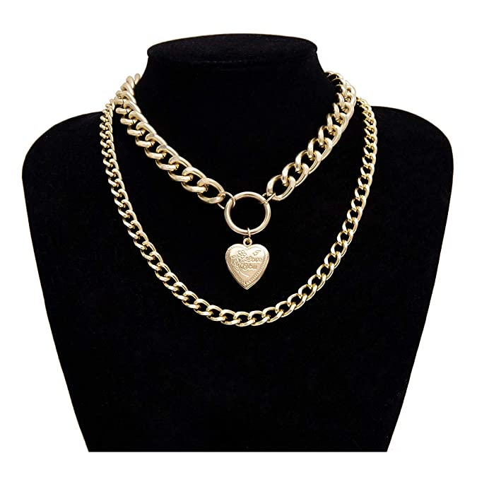 Amazon.com: Eoumy - Gargantilla de cadena de metal con capas ...