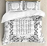 Ambesonne Occult Duvet Cover Set King Size, Gothic Medieval Magic and Spell Symbols Eternal Life Ritual Chart Themed Artwork, Decorative 3 Piece Bedding Set with 2 Pillow Shams, White Black