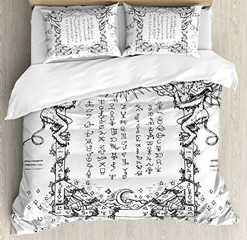 Ambesonne Occult Duvet Cover Set, Gothic Medieval Magic and Spell Eternal Life Chart Themed Artwork, Decorative 3 Piece Bedding Set with 2 Pillow Shams, Queen Size, White Charcoal