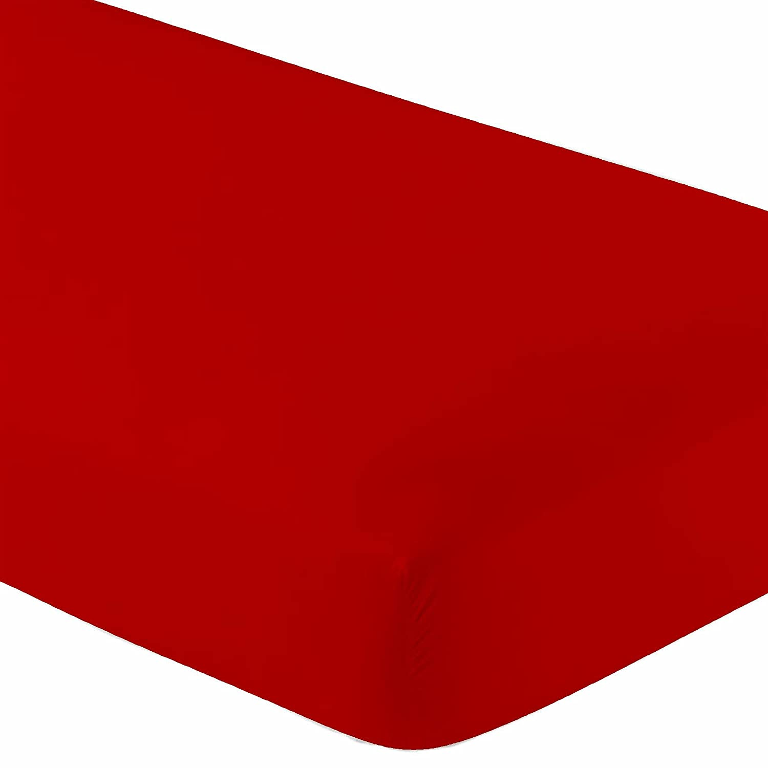 """Crescent Knit Jersey Red 100% Cotton 2 Twin XL Fitted Bed Sheets (2-Pack) Soft and Comfy - Twin Extra Long,15"""" Deep Pocket, 39"""" x 80"""" Great for Dorm, Hospital and Split King Dual Adjustable Beds (Red)"""