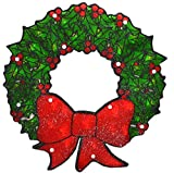 Sienna Lighted Double-Sided Shimmering Christmas Wreath Window Silhouette Decoration, 15''