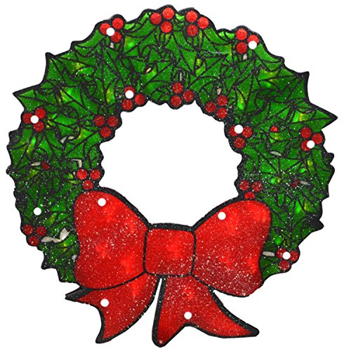 Sienna Lighted Double-Sided Shimmering Christmas Wreath Window Silhouette Decoration, 15