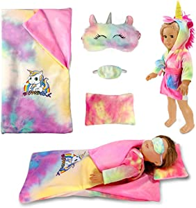 18-inch Doll-Clothes and Doll-Sleeping-Bag Set - Unicorn-Pajama with Matching Sleepover Masks & Pillow - Compatible with American-Girl-Doll-Clothes, Our-Generation, My-Life Dolls Accessories for Kids