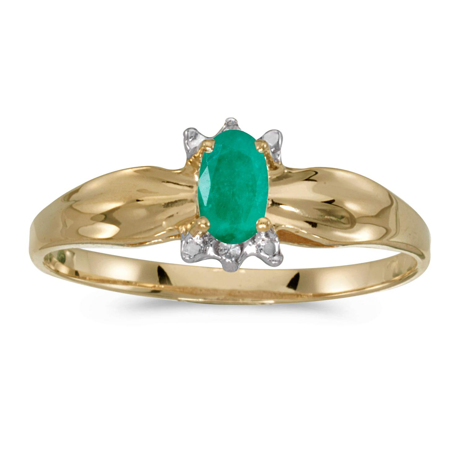 FB Jewels 10k Yellow Gold Genuine Birthstone Solitaire Oval Gemstone And Diamond Wedding Engagement Statement Ring