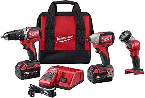 Milwaukee 2799-23 M18 18-Volt Brushless Lithium-Ion Cordless Hammer Drill Impact Driver Worklight Kit