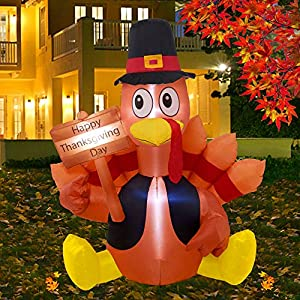 Twinkle Star Thanksgiving Decorations Inflatable Turkey, 6FT Lighted Blow up Turkey Happy Thanksgiving Day, Thanksgiving…