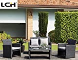 LCH 4 Piece Outdoor Wicker Furniture Sets Rattan Patio Conversation Sets Sectional Sofa With Removeable Seat Cushions and Tempered Glass Table, Black For Sale