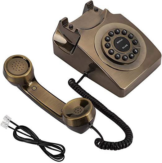 Teléfono Antiguo Teléfono Fijo Digital Vintage WX-3123# Teléfono de Bronce Antiguo Teléfono Fijo Teléfono de Escritorio Llamada de teléfono de la Oficina en casa: Amazon.es: Hogar