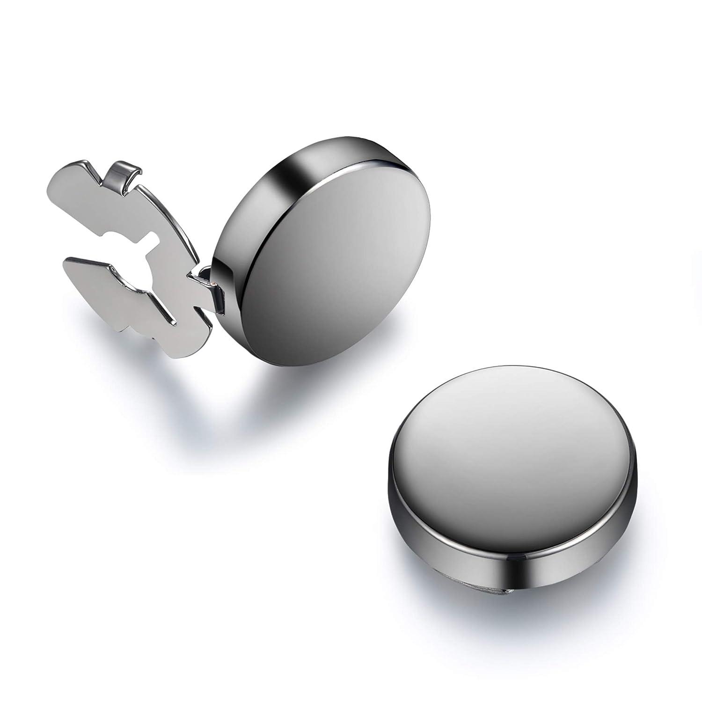 BUTTONCUFF Gunmetal Button Covers - Space Grey Imitation Cufflinks for Shirt Cuffs & Buttons 15mm) Button Cuff GM-0-s