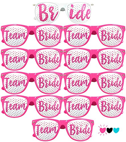 Team Bride Party Glasses - Novelty Sunglasses For Weddings, Bachelorette Parties and Bridal Showers (10pc Set, Hot - Bride Team Sunglasses