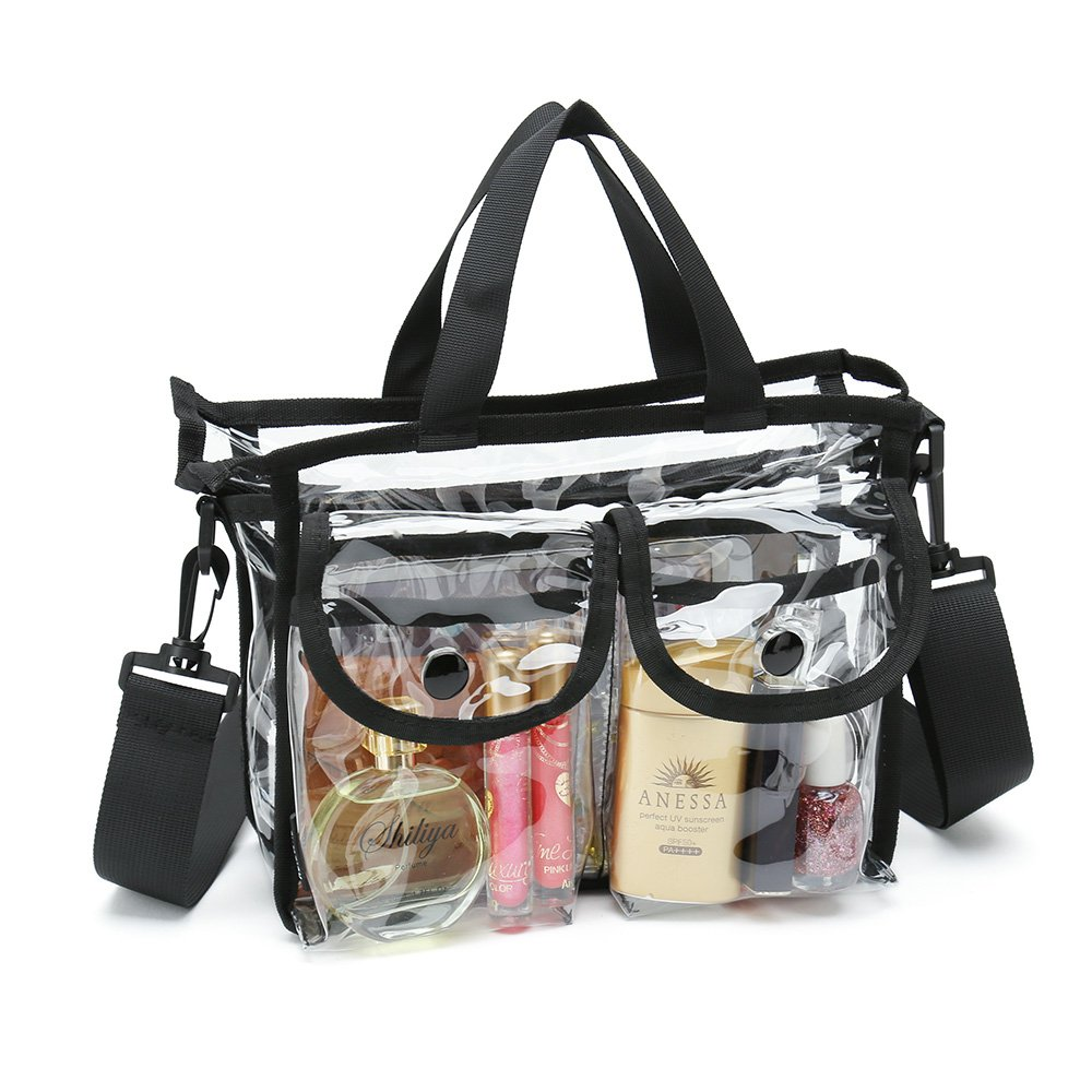 Clear cosmetic bags with removable and adjustable shoulder strap GymtionKwo