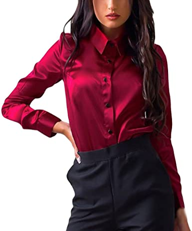 Siswong Blusas Raso Cuello de Solapa Elegantes Casual Mujer de Manga Larga Camisas Formales Oficina Juveniles de Chica Sexys con Botón: Amazon.es: Ropa y accesorios