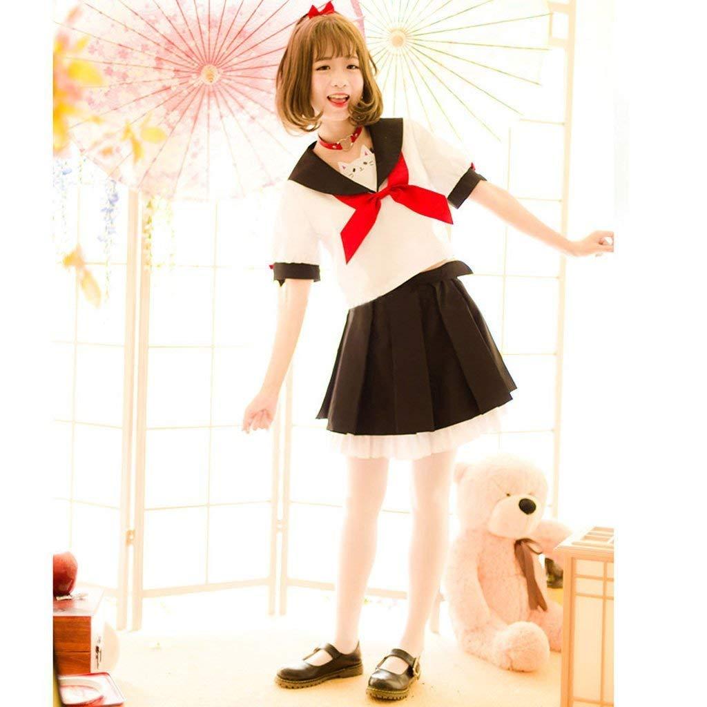 SSJ Japanese Sailor Uniform JK Cute Cat Girls High Neko Atume Style Costume White by SSJ (Image #2)