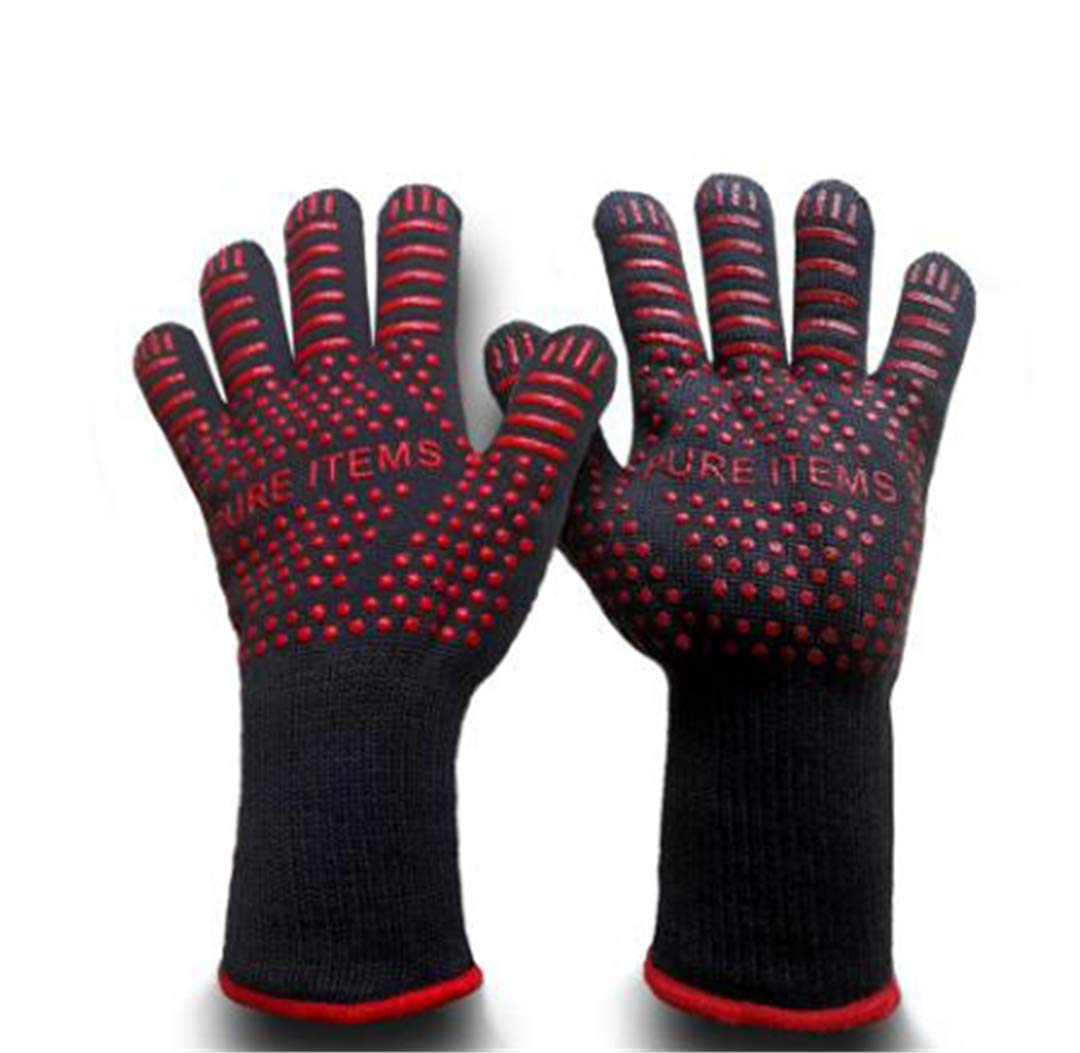 ProtectionShTa Gray Color BBQ Gloves with No-Slip Silicone Grips, Oven Mitts, Fire Proof Gloves, Baking, Cooking,Grilling,Kitchen Gloves Red