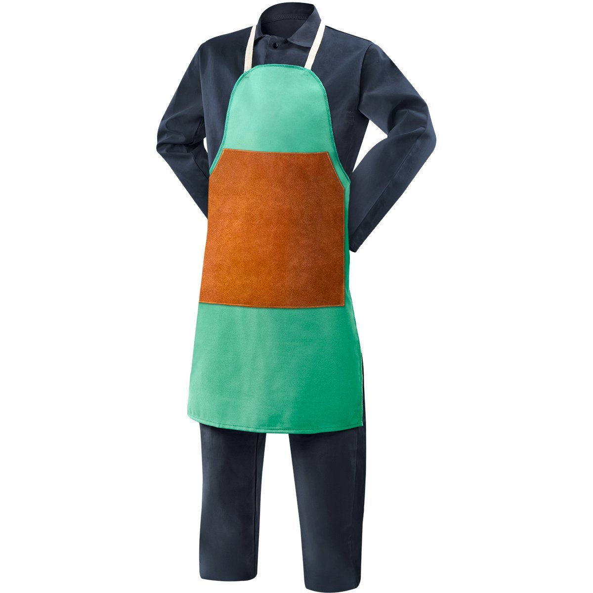 Steiner 10338 Bib Apron with Leather Patch, Green Flame Resistant 12-Ounce Cotton, 36-Inch