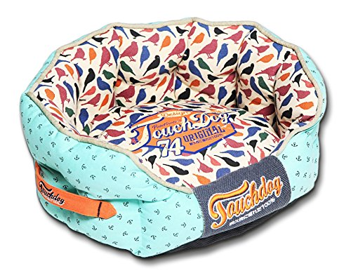 TOUCHDOG 'Chirpin-Avery' Rounded Premium Fashion Designer Pet Dog Bed, Medium, Light Blue, Bird Pattern Review