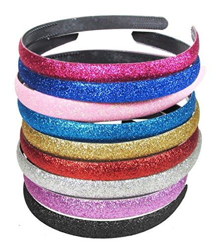Girls/Women Mixed Color Glitter Headband Headwear Hairband or Hair Hoop Set of 9