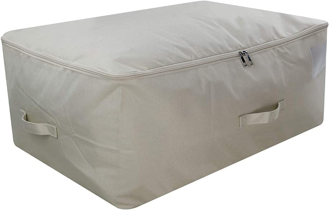 iwill CREATE PRO 105L Capacity Underbed Blankets, Pillow Storage Organizer Containers fits King Size Comforters with Top unzips on Three Sides, Beige