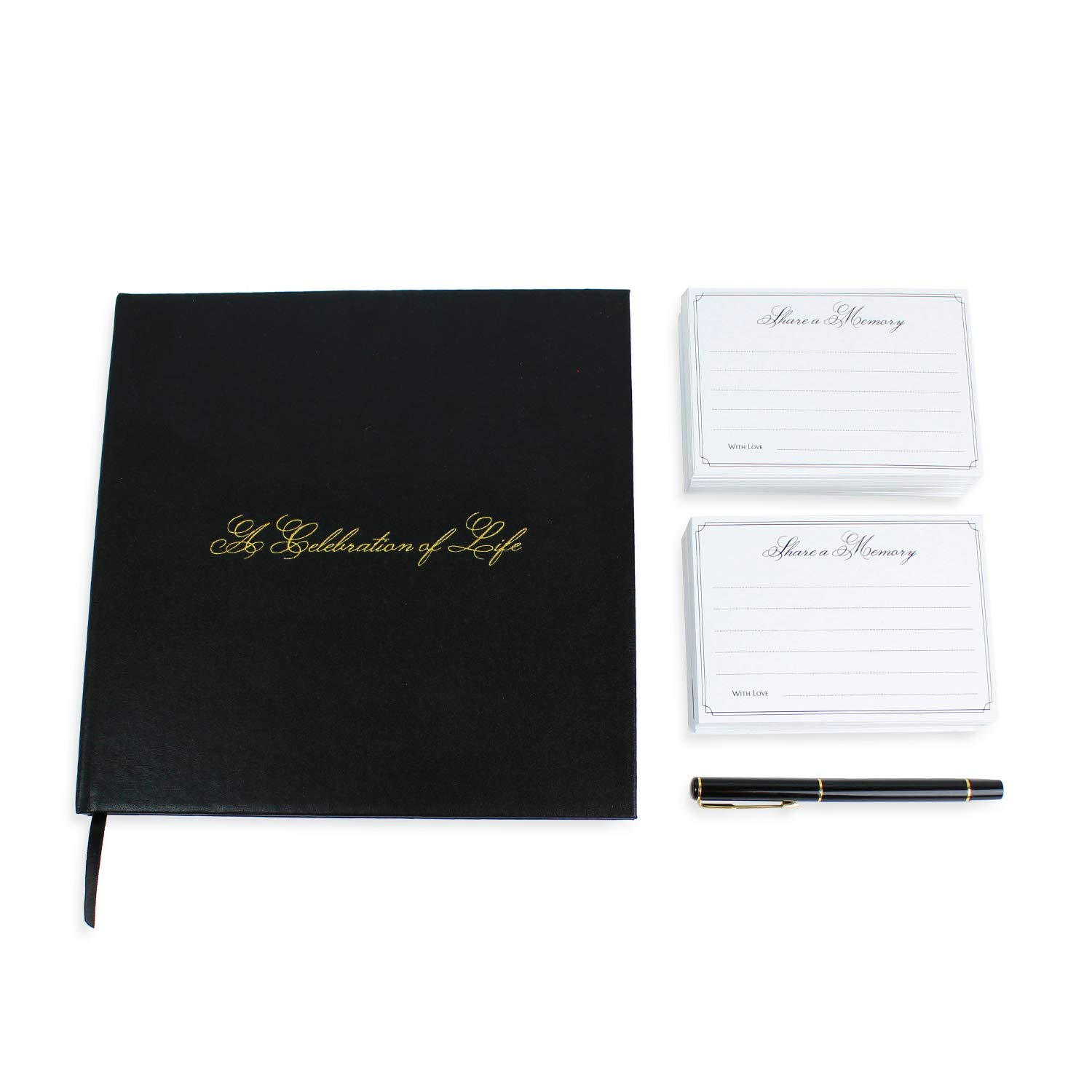 A Celebration of Life 96 Page Funeral Guest Book with Professional Picture Frame, Memorial Cards, and Gold Pen (Black Leather) by TopHat Technologies