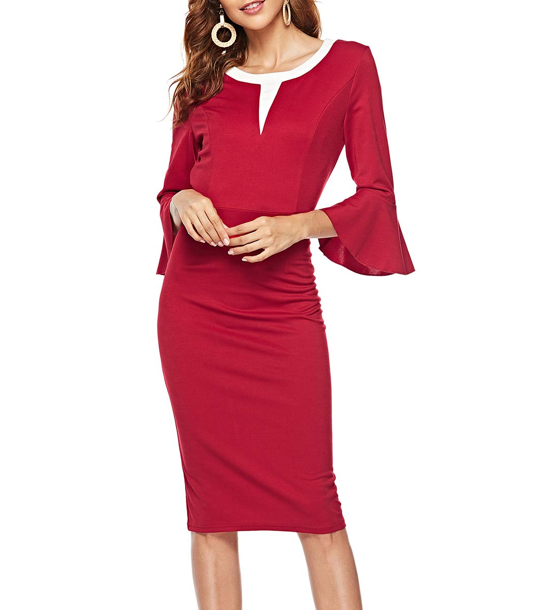 CEASIKERY Womens Elegant Flare Sleeves Office Pencil Wear to Work Bodycon Dress 45 A5045-C